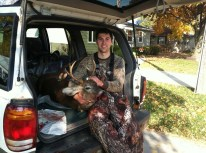 Luke after shooting a buck with his bow
