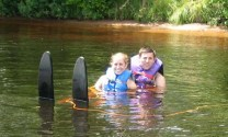 Luke and Katie water skiing up north