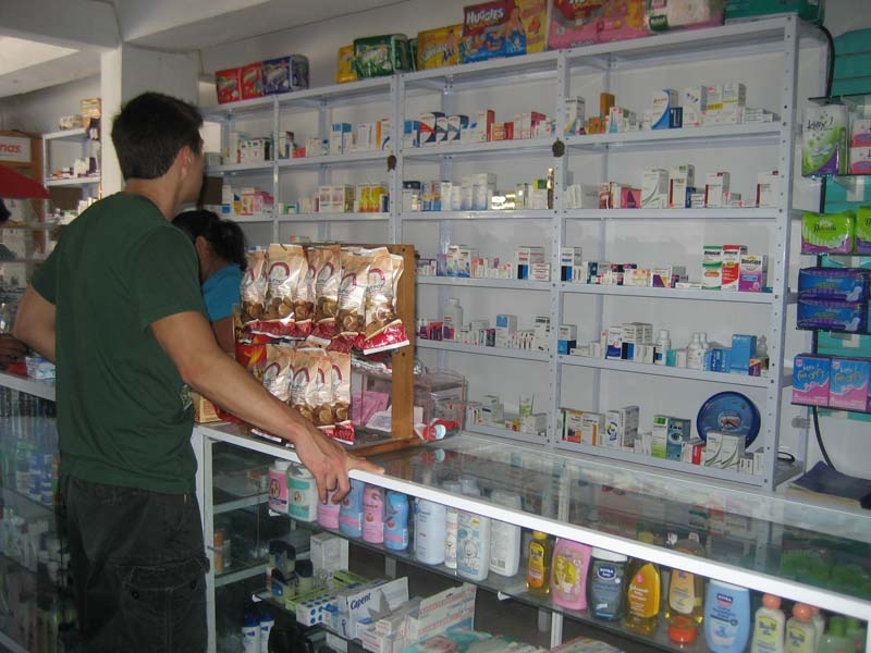 Luke at a pharmacy in Mexico