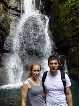 Katie and Luke at a waterfall in Hawaii