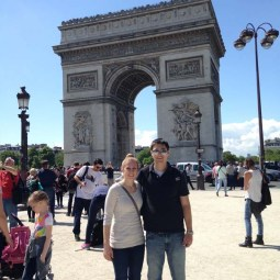 Katie and Luke at the Arc de Triomphe in Paris