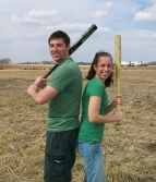 Luke and Katie playing baseball in Kansas