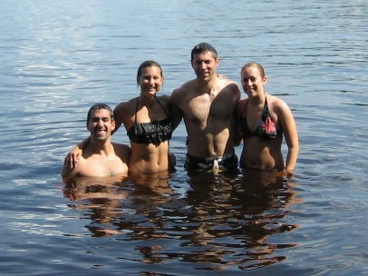 Luke, Katie and Luke's sister and brother in law swimming up north