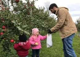 Luke, Ellie and Charles picking apples at the orchard.